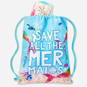 Justice Towel in a Bag Save Mermaids Blue NEW